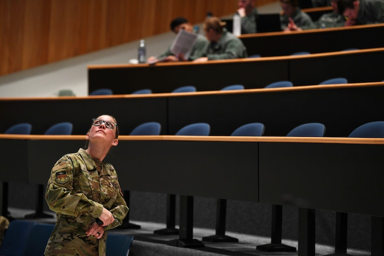 Master Sgt. Gloria Kuzmicki is a Department of Behavioral Sciences and Leadership instructor at the Air Force Academy's Dean of Faculty. She teaches approximately 300 freshman, sophomore and junior cadets. (U.S. Air Force photo/Master Sgt. Julius Delos Reyes)