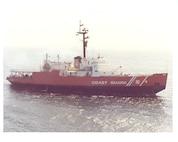 A scan of a photo of CGC Glacier underway at sea.