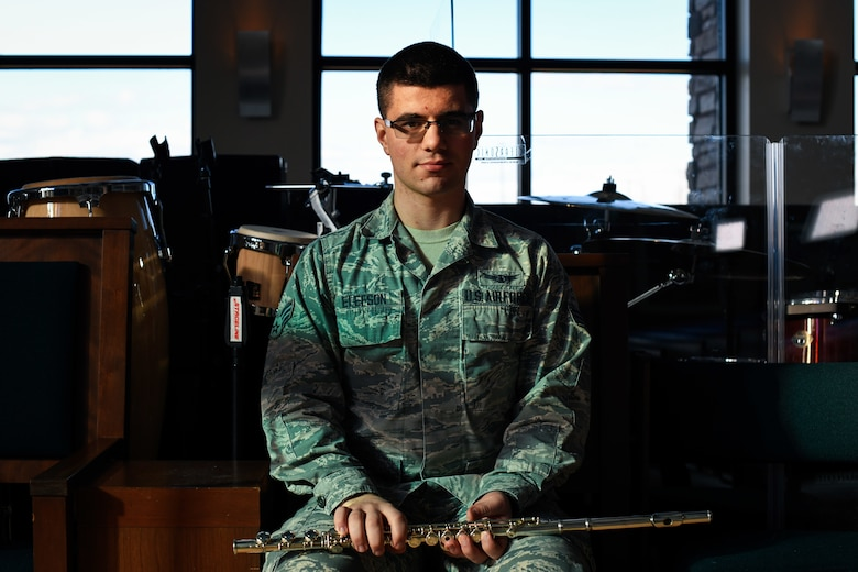 Senior Airman Richard Elefson, an 11th Space Warning Squadron mission management operator, poses for a photo, Jan. 10, 2020, at the chapel on Buckley Air Force Base, Colo.