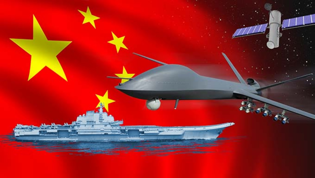 Artist illustration of Chinese flag, aircraft carrier, UAV, and satellite.