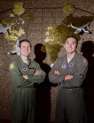 Maj. Will Smith, 47th Operations Group chief of training, and Capt. Andrew Campbell, 47th Operations Support Squadron assistant director of operations, stationed at Laughlin Air Force Base, Texas, were selected to be foreign area officers. They will represent the U.S. Air Force and increase partnerships with allied countries, leading international Airmen. (U.S. Air Force photo by Senior Airman Anne McCready)