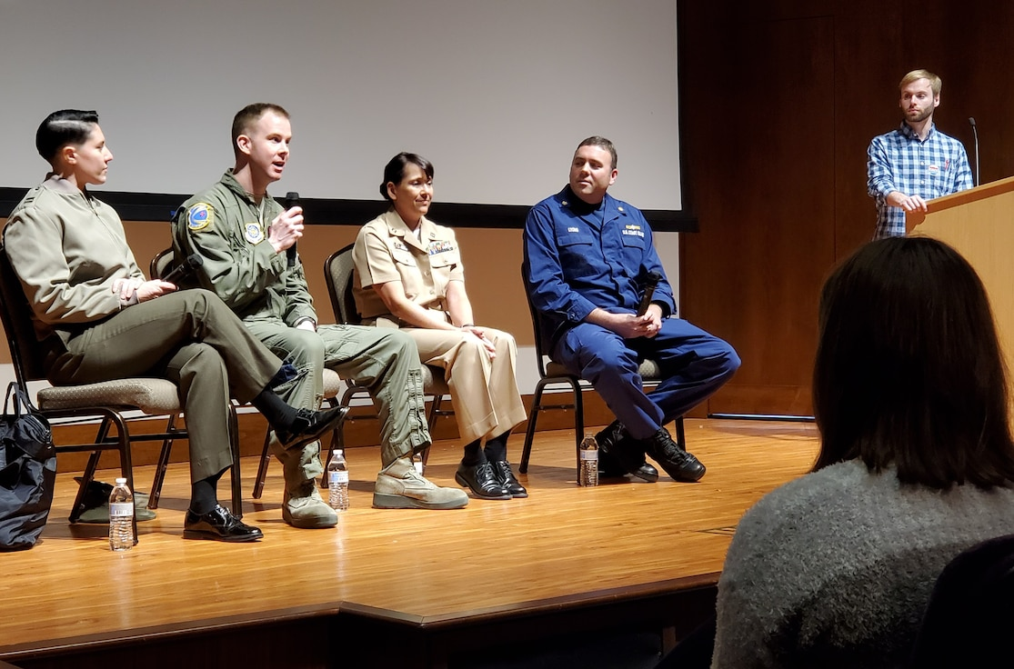 AFDW's Tech. Sgt. Doug Galmish, 1st Airlift Squadron at Joint Base Andrews, fielded questions from high school students as part of the non-profit Close Up educational program