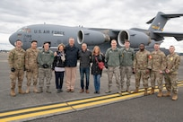 """Vice Chairman of the Joint Chiefs of Staff Air Force Gen. John E. Hyten, Senior Enlisted Advisor to the Chairman (SEAC) Ramon """"CZ"""" Colon-Lopez and USO entertainers arrive at Joint Base Lewis McChord, Washington for the annual Vice Chairman's USO Tour, March 1, 2020. Hyten, along with USO entertainers, will be visiting service members at various locations throughout the nation. This year's entertainers include comedians Scott Armstrong and Matt Walsh, actor Brad Morris, country music band LoCash, MMA Fighter Illima-Lei Macfarlane and DJ J. Dayz."""