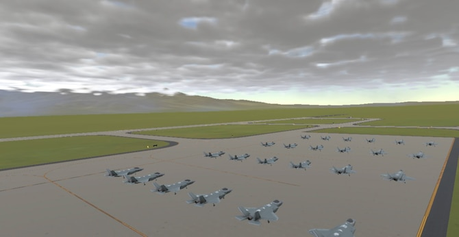 Simulated aircraft sit on a simulated flight line