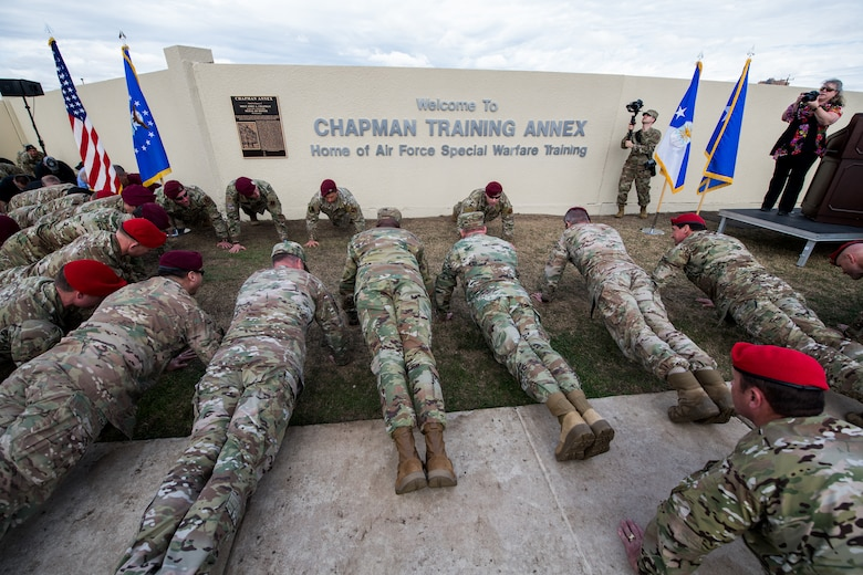 U.S. Airmen participate in the memorial pushups during the Joint Base San Antonio Annex renaming ceremony, March 4, 2020.