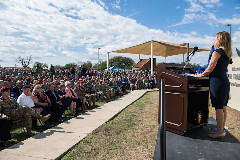 Valerie Nessel, spouse of Master Sgt. John A. Chapman, gives a few words during the Joint Base San Antonio Annex renaming ceremony, March 4, 2020.