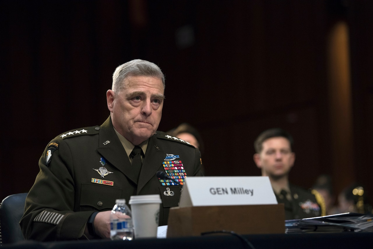 Army Gen. Mark A. Milley testifies at a hearing.