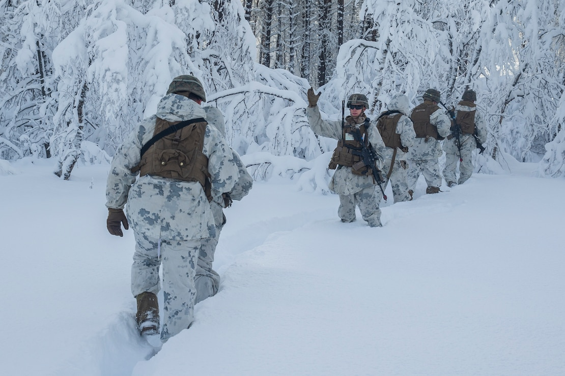 A U.S. Marine signals Marines to hurry during exercise Snow Panzer in Setermoen, Norway, Feb. 25.