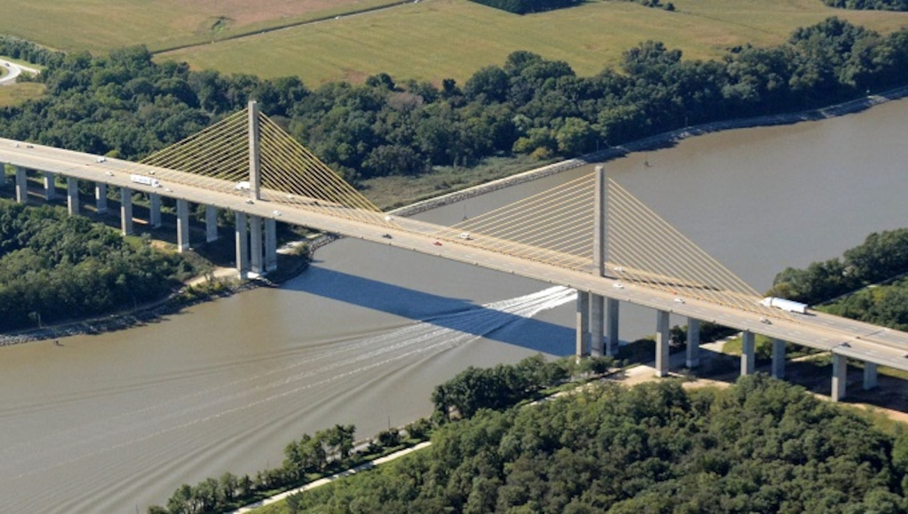 A highway bridge crossing a waterway.