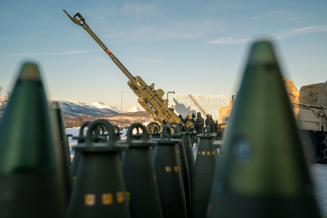 An M777 Howitzer sits staged at a range near Setermoen, Norway, March 4.