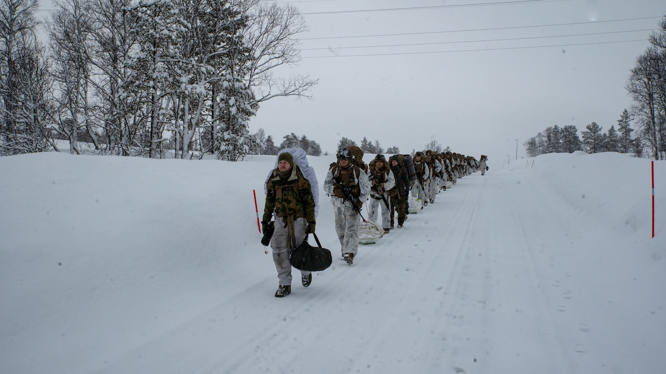 U.S. Marines conduct a cold-weather hike led by Norwegian Forsvaret soldiers during a cold-weather training package in preparation of Exercise Cold Response 20, in Bjerkvik, Norway, Feb. 26.