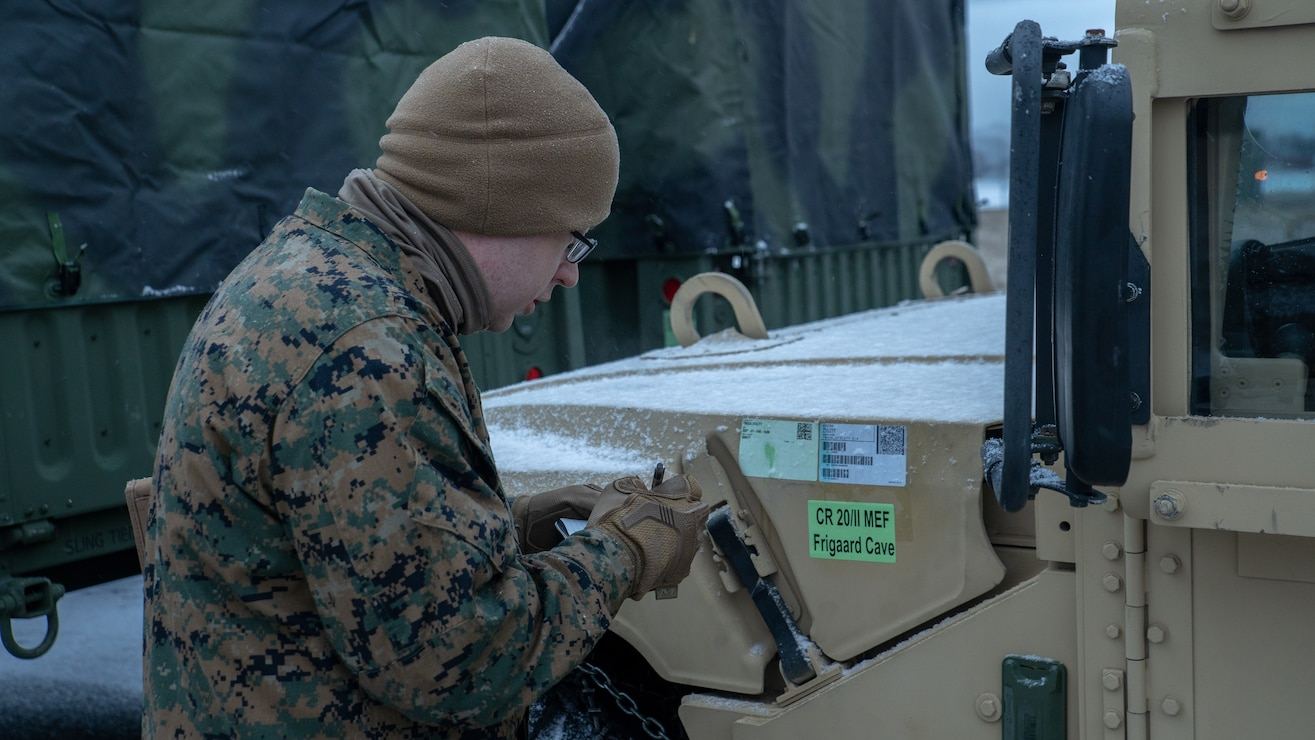 A U.S. Marine conducts MCPP-N inventory checks on U.S. Marine Corps High Mobility Multipurpose Wheeled Vehicles at Vӕrnes Garnison, Norway, Feb. 13.