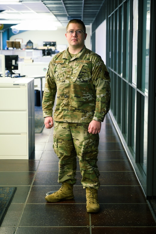 U.S. Air Force Master Sgt. Brandon Louderback, a 188th CES engineer assistant, March 4, 2020, at Ebbing Air National Guard base, Fort Smith, Ark. Louderback is pushing for greater Geographic Information System (GIS) integration in the Air National Guard after showcasing its ability to reduce manpower to assess damage after an EF-1 tornado tore through the base in 2019. (U.S. Air National Guard photo by Staff Sgt. Matthew Matlock)