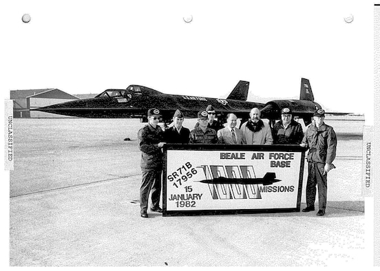 Airmen pose for a picture to celebrate SR-71B's 1,000th sortie, Jan. 15, 1982 at Beale Air Force Base, California. A sortie is an operational mission conducted by an aircraft. (U.S. Air Force photo)