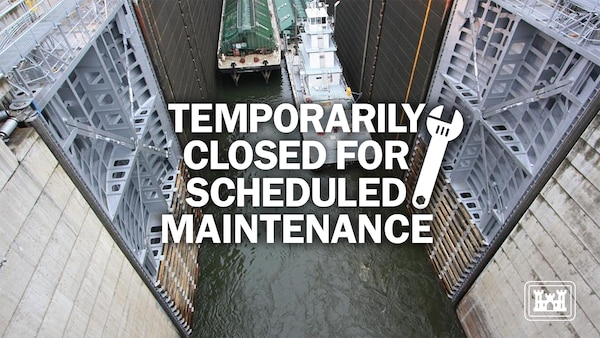 Temporarily Closed for Maintenance. Barges exiting The Dalles Navigation Lock