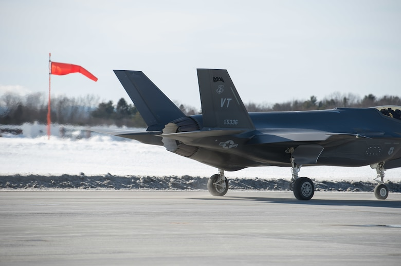 A pilot assigned to the 134th Fighter Squadron, 158th Fighter Wing, Vermont Air National Guard, returns to base in their F-35A Lightning II during routine flying operations