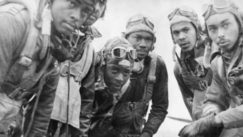 """A """"selfie"""" of Tuskegee Airmen on duty. From the History.com"""