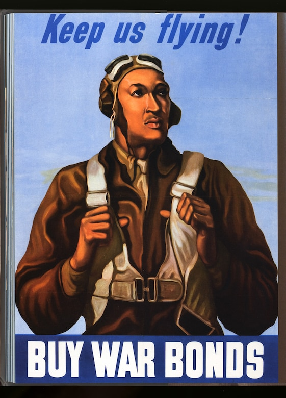 Tuskegee Airman William Diez is featured in this World War II plea for Americans to buy war bonds. The poster is one of a series of patriotic posters sponsored by the Office of War Information. (From the Smithsonian Institution, ID #258)