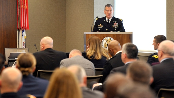Lt. Gen. James Dickinson, U.S. Space Command's deputy commander, talks March 5 during an Association of the U.S. Army event on Army space and integrated air and missile defense in Arlington, Va. The lack of a visible threat makes some believe that adversaries haven't weaponized space and behaving like they do in other warfighting domains, the Army general said.