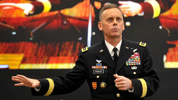 Lt. Gen. Daniel Karbler, Army Space and Missile Defense Command commander, talks about growing threats to the interests of the U.S. and its allies March 5 during an Association of the U.S. Army event in Arlington, Va.