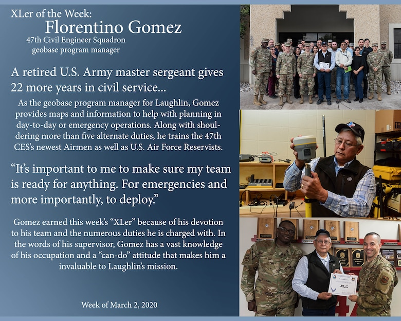 "Florentino Gomez, 47th Civil Engineer Squadron geospace program manager, was chosen by wing leadership to be the ""XLer of the Week"" of March 2, 2020 at Laughlin Air Force Base, Texas. The ""XLer"" award, presented by Col. Lee Gentile, 47th Flying Training Wing commander, and Chief Master Sgt. Brian Lewis, 47th Operations Group superintendent, is given to those who consistently make outstanding contributions to their unit and the Laughlin mission. (U.S. Air Force Graphic by Senior Airman Anne McCready)"