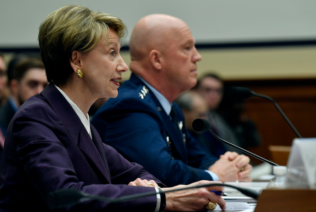 Secretary of the Air Force Barbara M. Barrett testifies before the House Armed Services Committee in Washington, D.C., March 4, 2020. Barrett talked about the fiscal year 2021 National Defense Authorization Budget request for the Department of the Air Force. (U.S. Air Force photo by Wayne Clark)