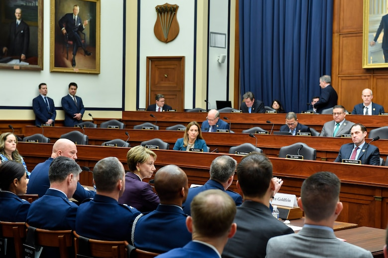 Air Force Chief of Staff Gen. David L. Goldfein, Department of the Air Force Secretary Barbara M. Barrett and Chief of Space Operations Gen. John W. Raymond testify before the House Armed Services Committee in Washington, D.C., March 4, 2020. (U.S. Air Force photo by Wayne Clark)