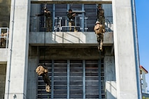 U.S. Marines with 1st Battalion, 25th Marines, fast rope during rappel tower training March 3, 2020, at Camp Schwab, Okinawa, Japan.