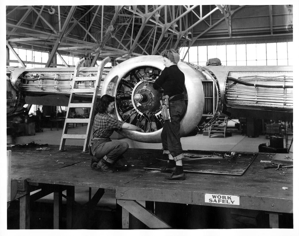 Women working on aircraft as part of the Ogden Air Depot's maintenance lines during World War II.