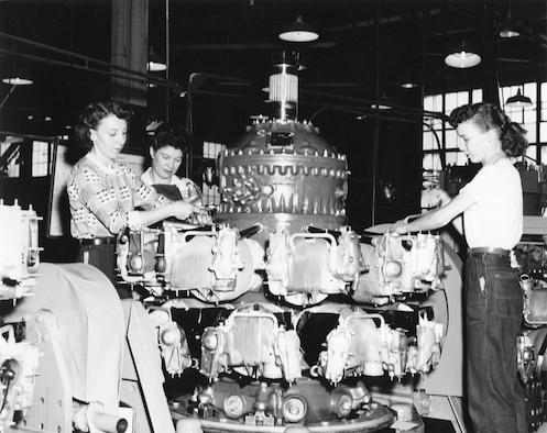 Women working in the Ogden Air Depot's Engine Repair Shop during World War II.