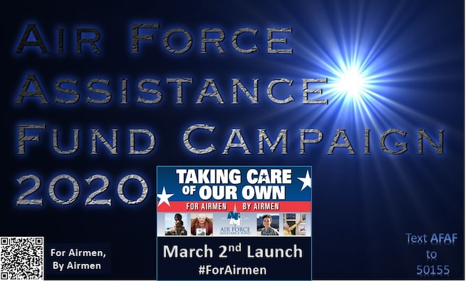 Graphic depicting blue light with the words Air Force Assistance Fund Campaign 2020. Includes a QR code and an image with the words March 2nd launch #ForAirmen