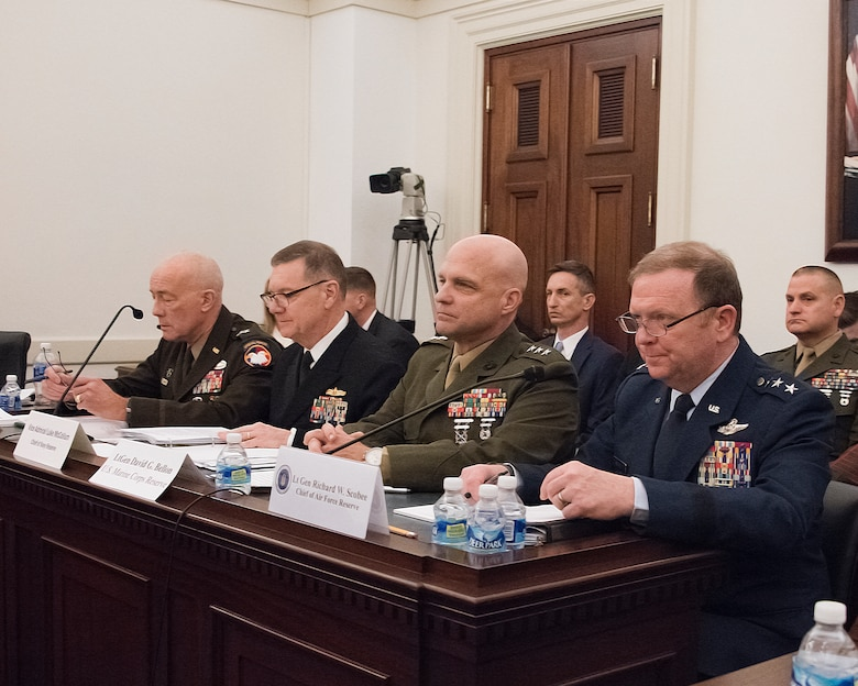 Lt. Gen. Richard W. Scobee, chief of the Air Force Reserve and commander of Air Force Reserve Command, testifies before the U.S. House Appropriations Committee's Subcommittee on Defense March 3, in Washington, D.C.