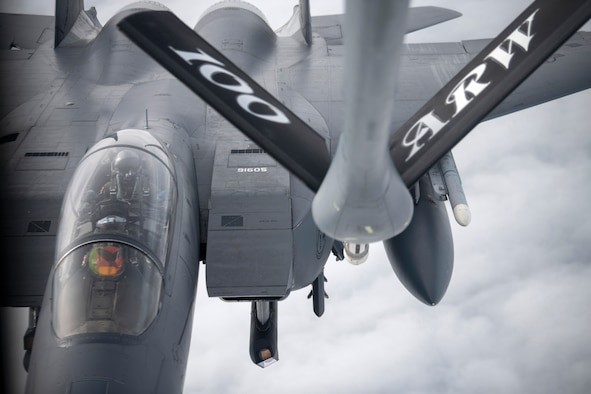 A U.S. Air Force F-15E Strike Eagle assigned to the 48th Fighter Wing, RAF Lakenheath, England, prepares to receive fuel from a KC-135 Stratotanker assigned to the 100th Air Refueling Wing, RAF Mildenhall, England, during Exercise Valiant Liberty off the coast of England, March 5, 2020. Valiant Liberty is an agile combat employment exercise being conducted from March 2-13 which includes limited low-level and night flying. (U.S. Air Force photo by Tech. Sgt. Emerson Nuñez)