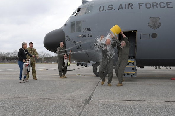 Chief Master Sgt. Terry Studstill, 700th Airlift Squadron flight engineer superintendent, celebrated his fini flight earlier this month. Studstill reached just over 10,000 flight hours during his 37-year career -- 8,600 of which were on the C-130! (U.S. Air Force photo/Andrew Park)