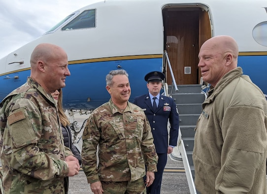 General Jay Raymond, Chief of Space Operations, U.S. Space Force and Commander, U.S. Space Command arrived at Dobbins Air Reserve Base, Feb. 23, 2020. Upon arrival Gen. Raymond was greeted by Col. Craig McPike, Commander, 94th Airlift Wing and Dobbins Installation Commander, and his spouse Jennifer McPike along with Brig. Gen. Thomas Grabowski, Commander, GA Air National Guard and State Command Chief Master Sgt. Lynda Washington, GA Air National Guard. (Courtesy photo)