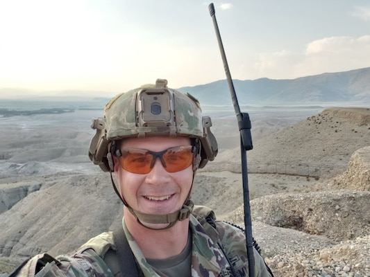 """Staff Sgt. Benjamin Sieg, a quick reaction force squad leader in A Company, 1st Battalion, 128th Infantry, in Afghanistan. The 1st Battalion, 128th Infantry, deployed to Afghanistan in July 2019, and is acting as a """"Guardian Angel"""" security element for the 3rd Security Force Assistance Brigade."""