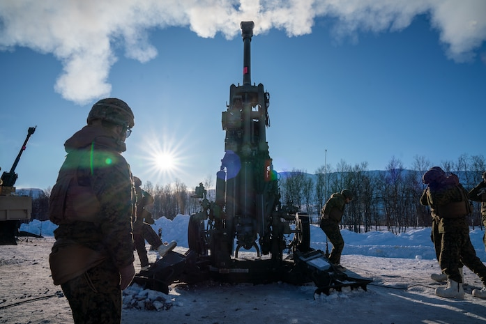 U.S. Marines from II Marine Expeditionary Force, fire an M777 howitzer during a live-fire range near Setermoen, Norway, March 4, 2020. Artillery Marines conducted the live-fire range in preparation for Exercise Cold Response, a Norwegian-led exercise designed to enhance military capabilities and allied cooperation in high-intensity warfighting in a challenging arctic environment. (U.S. Marine Corps photo by Cpl. Menelik Collins)