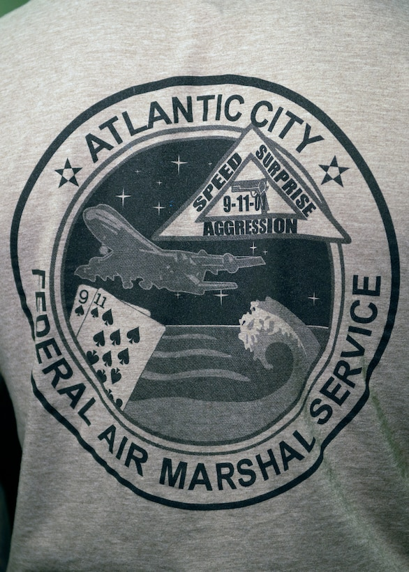 close up photograph of Federal Air Marshall Service emblem from Atlantic City New Jersey on the back of a T-shirt