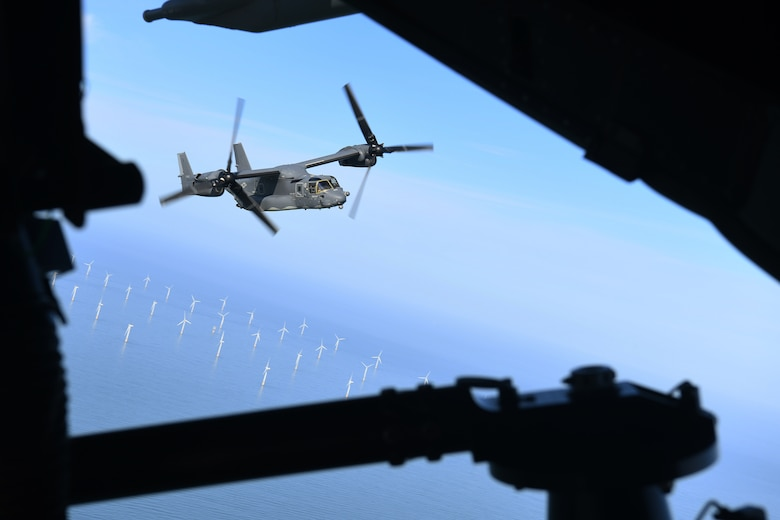 A CV-22B Osprey flies over the North Sea