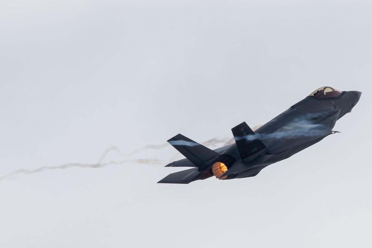 Jet flies through the air.