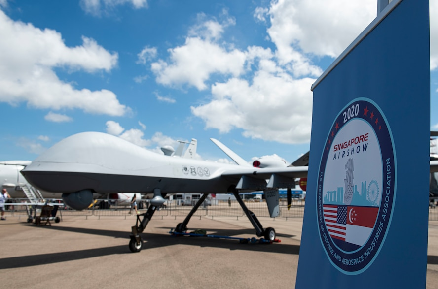 An MQ-9 Reaper sits on display at Singapore Airshow.