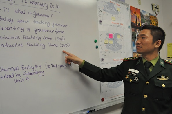 DLIELC upholds the US partnership with Vietnam in many ways. On-campus, DLIELC hosts students from all of Vietnam's branches of military. Pictured is CPT Dinh Mong Bui of the Vietnmanese Army in his General English (GE) classroom. Once graduated from GE, CPT Bui will continue his English Language Training in the Basic American Language Instructor Course (BALIC).