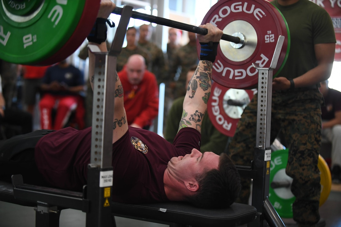U.S. Marine Corps Sgt. Brandon Tallent competes in the 2020 Marine Corps Trials powerlifting competition at Marine Corps Base Camp Pendleton, Calif., March 4. The Marine Corps Trials promotes recovery and rehabilitation through adaptive sports participation and develops camaraderie among recovering service members and veterans.