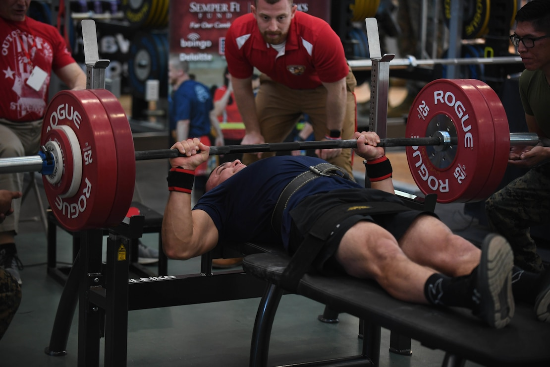U.S. Marine Corps athlete competes in the 2020 Marine Corps Trials powerlifting competition at Marine Corps Base Camp Pendleton, Calif., March 4. The Marine Corps Trials promotes recovery and rehabilitation through adaptive sports participation and develops camaraderie among recovering service members and veterans.