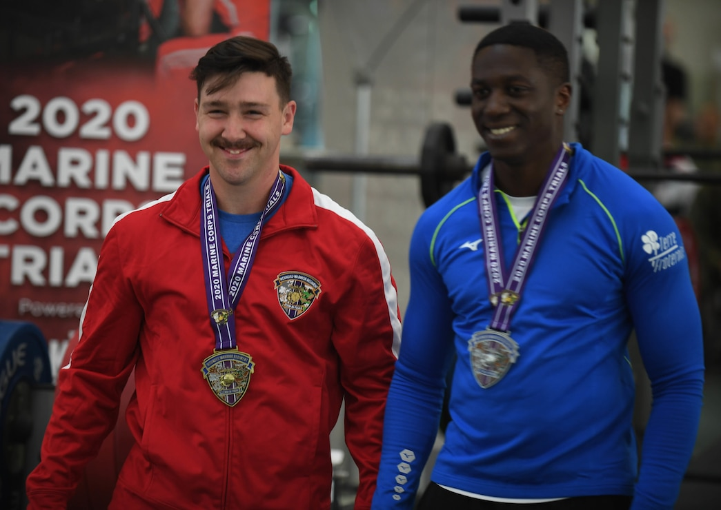 U.S. Marine Corps Sgt. Jay Phillips (left) and France Armed Forces athlete Bodian Ibrahima (right) take home the gold and silver medals, respectively, for the 65.01Kg-72Kg weight class during the 2020 Marine Corps Trials at Marine Corps Base Camp Pendleton, Calif., March 4. The Marine Corps Trials promotes recovery and rehabilitation through adaptive sports participation and develops camaraderie among recovering service members and veterans.