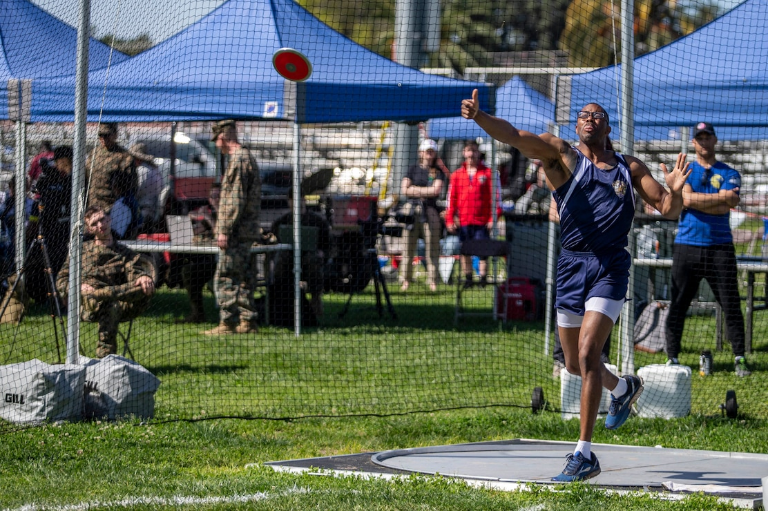 U.S. Marine 1st Sgt. Michael Landry, with 1st Law Enforcement Battalion, I Marine Expeditionary Force Information Group, I Marine Expeditionary Force, throws a discus during the 2020 Marine Corps Trials competition at Marine Corps Base Camp Pendleton, California, March 5, 2020. The Marine Corps Trials promotes rehabilitation through adaptive sports participation for recovering service members and veterans all over the world.