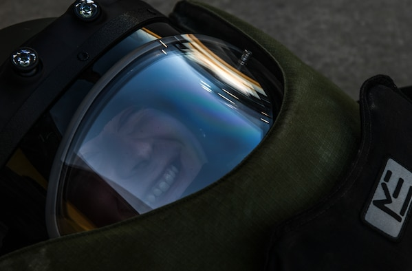 Cadet Jeffrey Stewart, an Indiana State University Detachment 218 Air Force Reserve Officer Training Corps cadet, smiles in a training bomb suit during a tour at Whiteman Air Force Base, Mo., Mar. 3, 2020. The 28 cadets tested various career fields' mission equipment to include the 509th Civil Engineer Squadron explosive ordnance disposal flight's bomb suit, as well as the 442nd Fighter Wing and 20th Attack Squadron's flight simulators. (U.S. Air Force photo by Staff Sgt. Sadie Colbert)