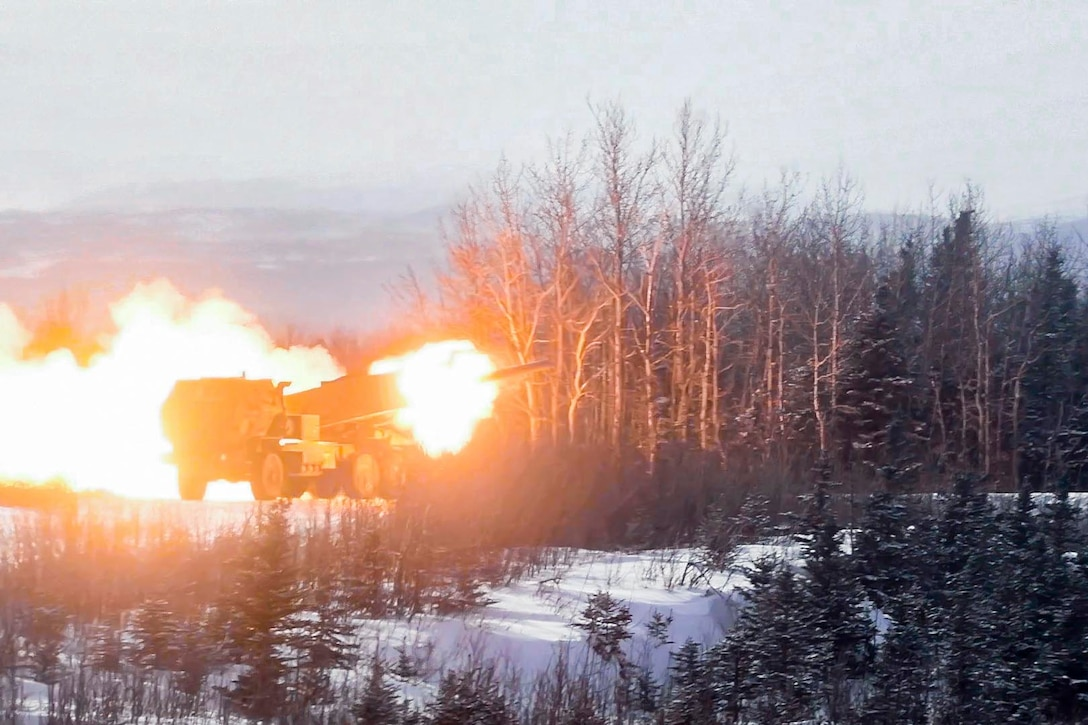 A rocket fired from a military vehicle.