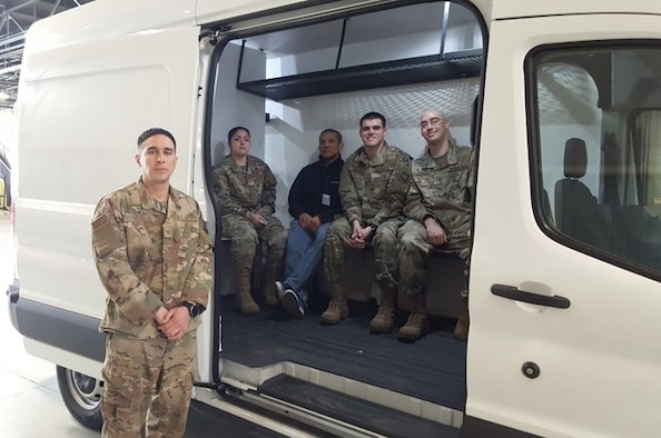 Airmen from the 92nd Logistics Readiness Squadron pose with an upgraded transit van March 5, 2020, at Fairchild Air Force Base, Washington.