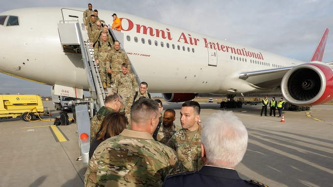 U.S. Army Soldiers arrive in Bavaria in support of  DEFENDER-Europe 20